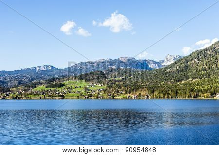 Reflection Of Mountain Village In Hallstatter See, Austria, Europe