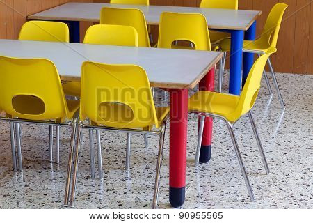 Classroom With Yellow Chairs In The Preschool