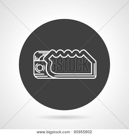 Descender black round vector icon