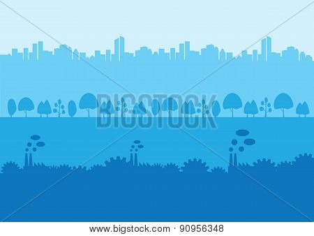Urban Rural And Industrial Landscape Silhouette Background