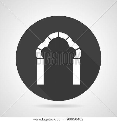 Trefoil arch black round vector icon