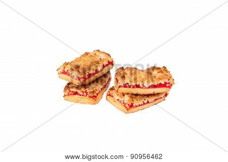 Biscuits With Jam On A White Background