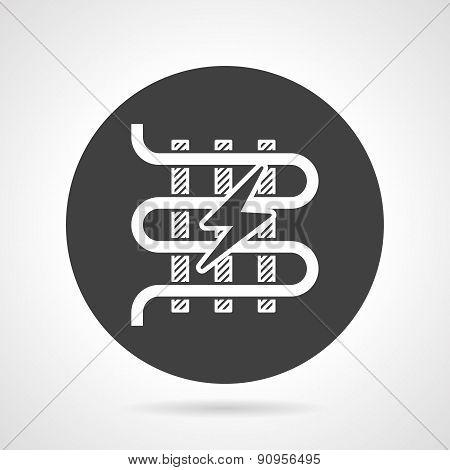 Heated floor black round vector icon