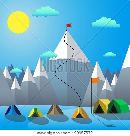 Flag On The Mountain Peak. Goal Achievement. Flat design vector illustration