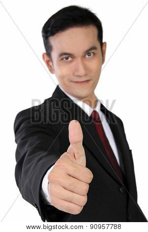 Young Asian Businessman Giving Thumb Up, Isolated On White