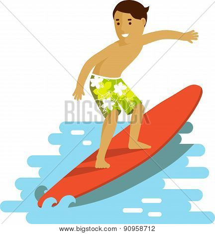Young surfer man on surfboard riding the wave