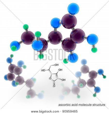 Ascorbic Acid (vitamin C) Molecule Structure