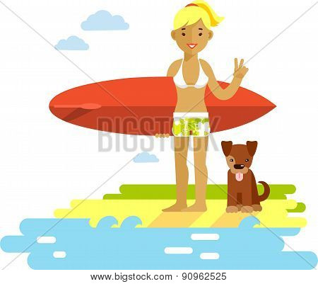 Young surfer girl with surfboard on the beach
