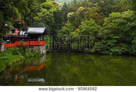 Shrine and pond scene in Kyoto, Japan