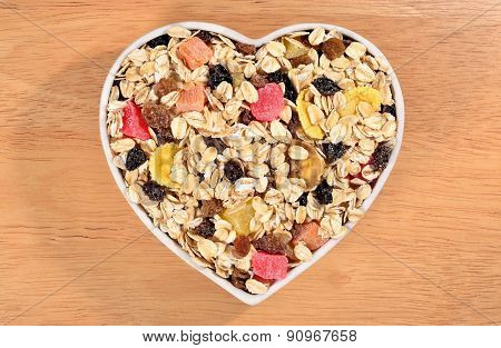 Musli  In Plate In The Form Of Heart