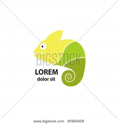 Stylized chameleon on a light background