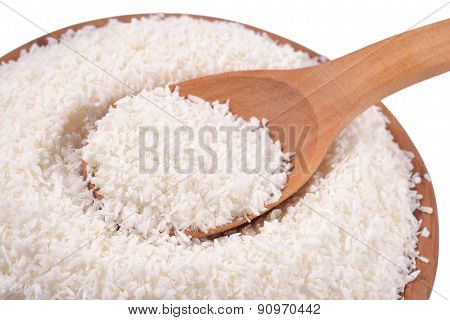 Shredded Coconut In A Wooden Spoon
