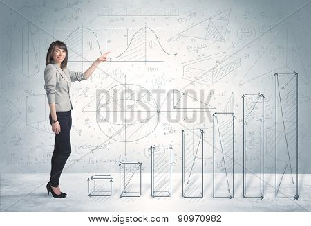 Business woman climbing up on hand drawn graphs concept on background