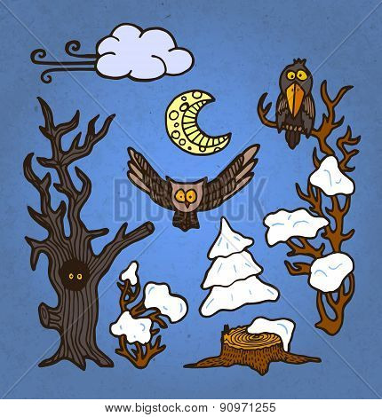 vector illustration set of hand drawn trees and birds