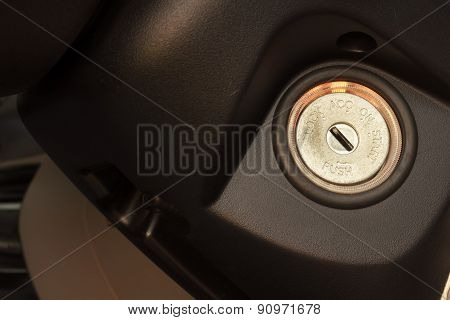 Inserting The Keys To Start The Engine