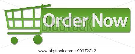 Order Now Green Shopping Cart Horizontal
