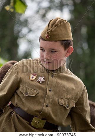 Makeevka, Ukraine - May, 9, 2012: Boy - Participant Of The Historical Parade In Honor Of The Anniver