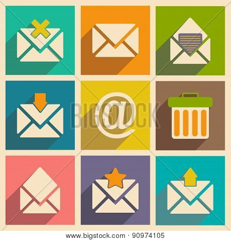 Flat with shadow concept and mobile application email icons