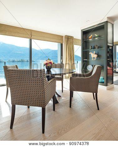 Interior beautiful apartment, elegant dining room