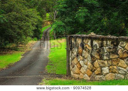 Rural driveway entrance