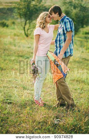 Teenage Couple Embrace