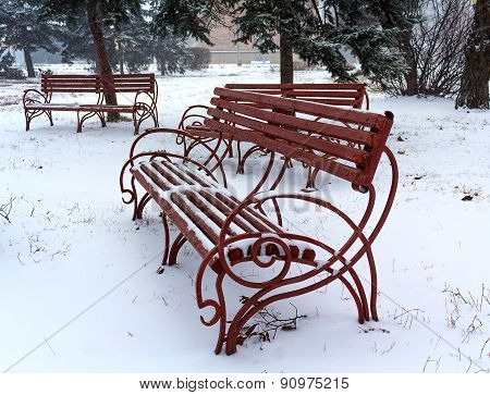 Benches  During Winter In Park Covered With Snow