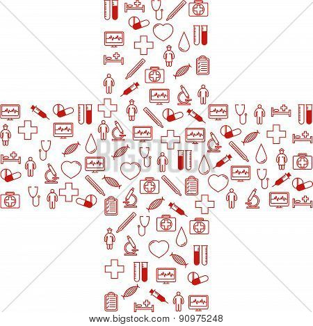 First aid medical icons set. Vector illustration in linear (flat) design.