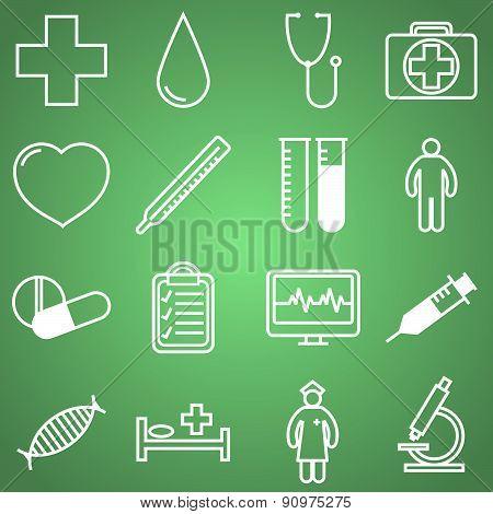 Medical icons set. Vector illustration in linear (flat) design.