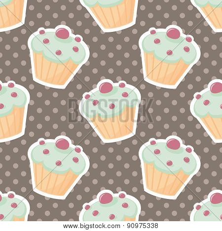 Tile vector pattern with cupcakes and polka dots on brown background
