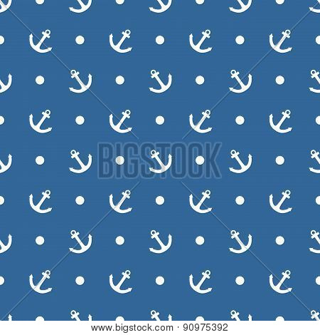 Tile sailor vector pattern with white anchor and polka dots on blue background