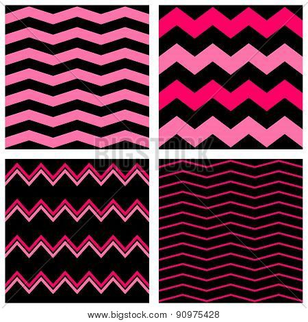 Tile vector pastel pattern set with pink zig zag on black background