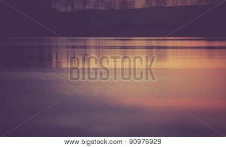 Vintage Photo Of Beautiful Sunset Over Calm Lake