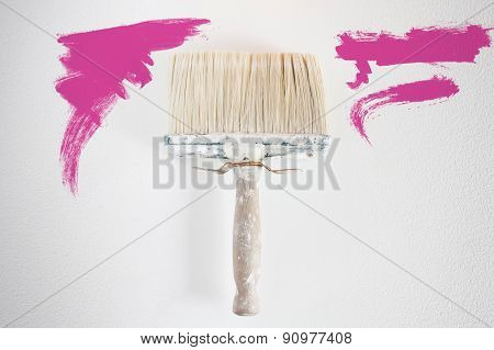 Dirty Wall Brush Painting With Magenta Paint