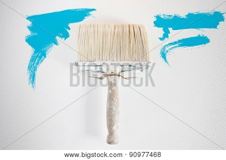 Dirty Wall Brush Painting With Cyan Paint