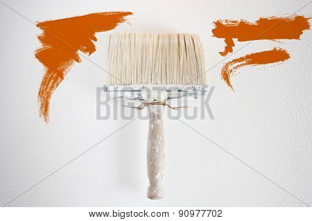 Dirty Wall Brush Painting With Orange Paint