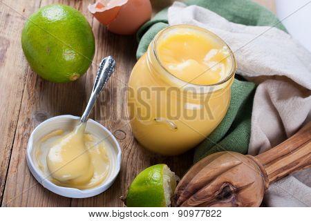 Jar of lime curd