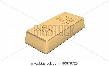 Gold bar isolated on white background