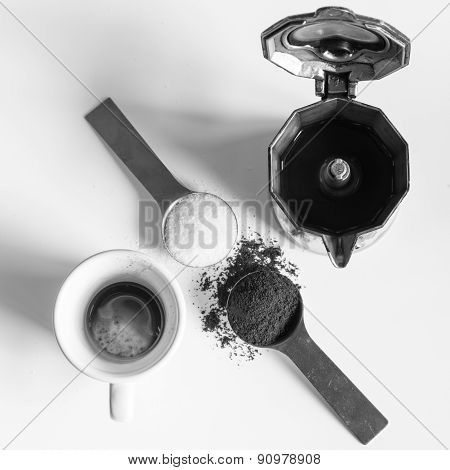 Coffee, Italian Way With Spoons, Cup, Sugar, Coffee Powder And Moka