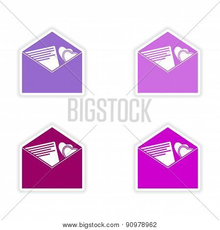assembly realistic sticker design on paper envelopes invitation