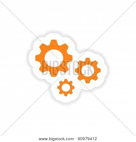 icon sticker realistic design on paper settings