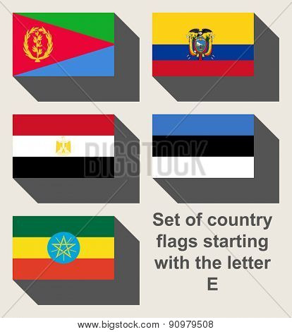 Set of country flags staring with the letter E.