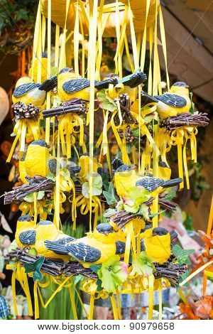 Nice Easter bird figurines in a market