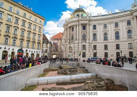 Michaelerplatz in Vienna with Roman and medieval remains