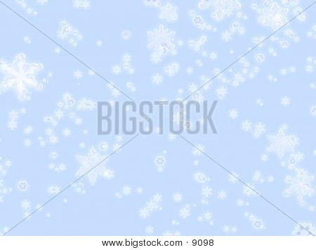 Icy Snowflakes On Blue Background
