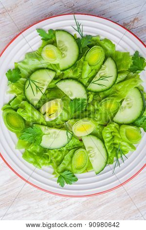 Green Salad Made With Lettuce, Leek And Cucumber