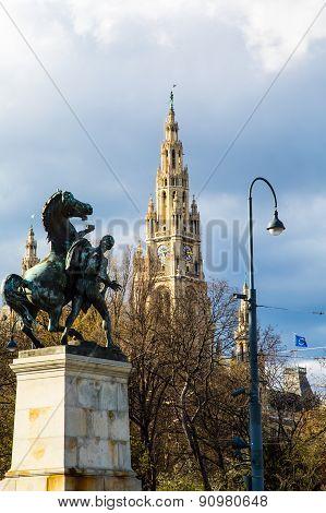 Vienna City Hall and Horse statue  Wiener Rathaus, Austria