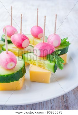 Party Finger Foods With Cheese, Cucumber, Radish