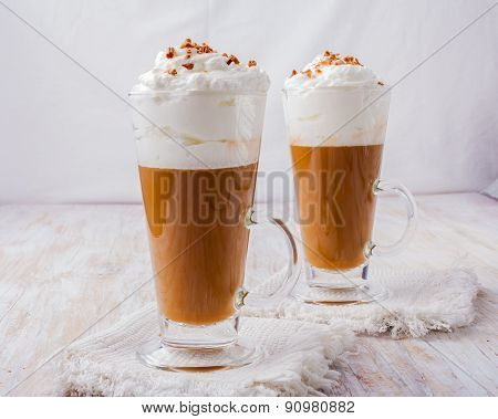 Coffee With Whipped Cream And Chocolate