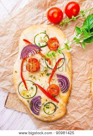 Focaccia, Small Homemade Vegetarian Pizza
