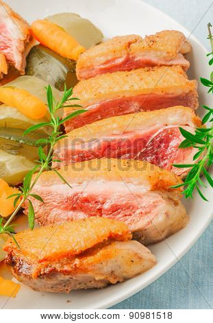 Baked Duck Breast With Zucchini And Carrots